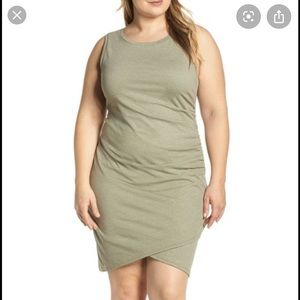 Leith Ruched dress Olive Green